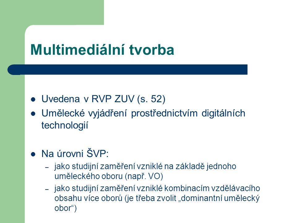 Multimediální tvorba Uvedena v RVP ZUV (s. 52)