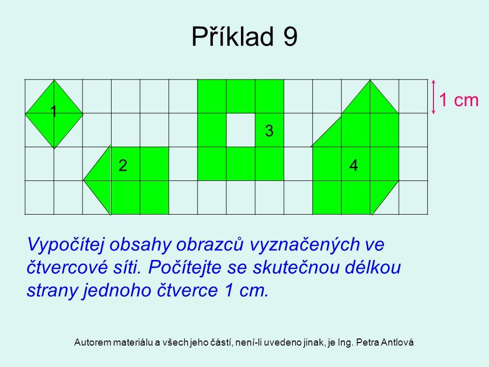 Příklad 9 1 cm. 1. 3. 2. 4. Vypočítej obsahy obrazců vyznačených ve čtvercové síti. Počítejte se skutečnou délkou strany jednoho čtverce 1 cm.
