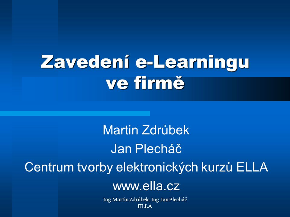 Zavedení e-Learningu ve firmě