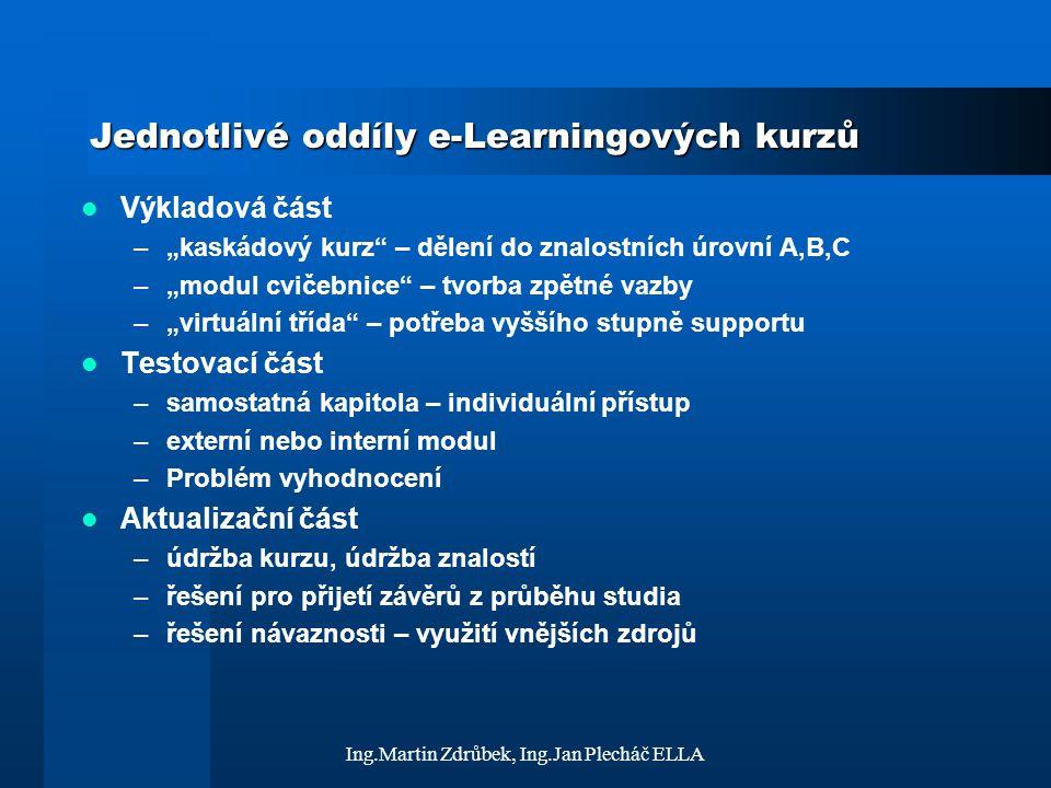 Jednotlivé oddíly e-Learningových kurzů