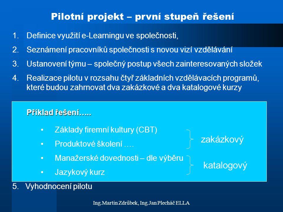 Pilotní projekt – první stupeň řešení