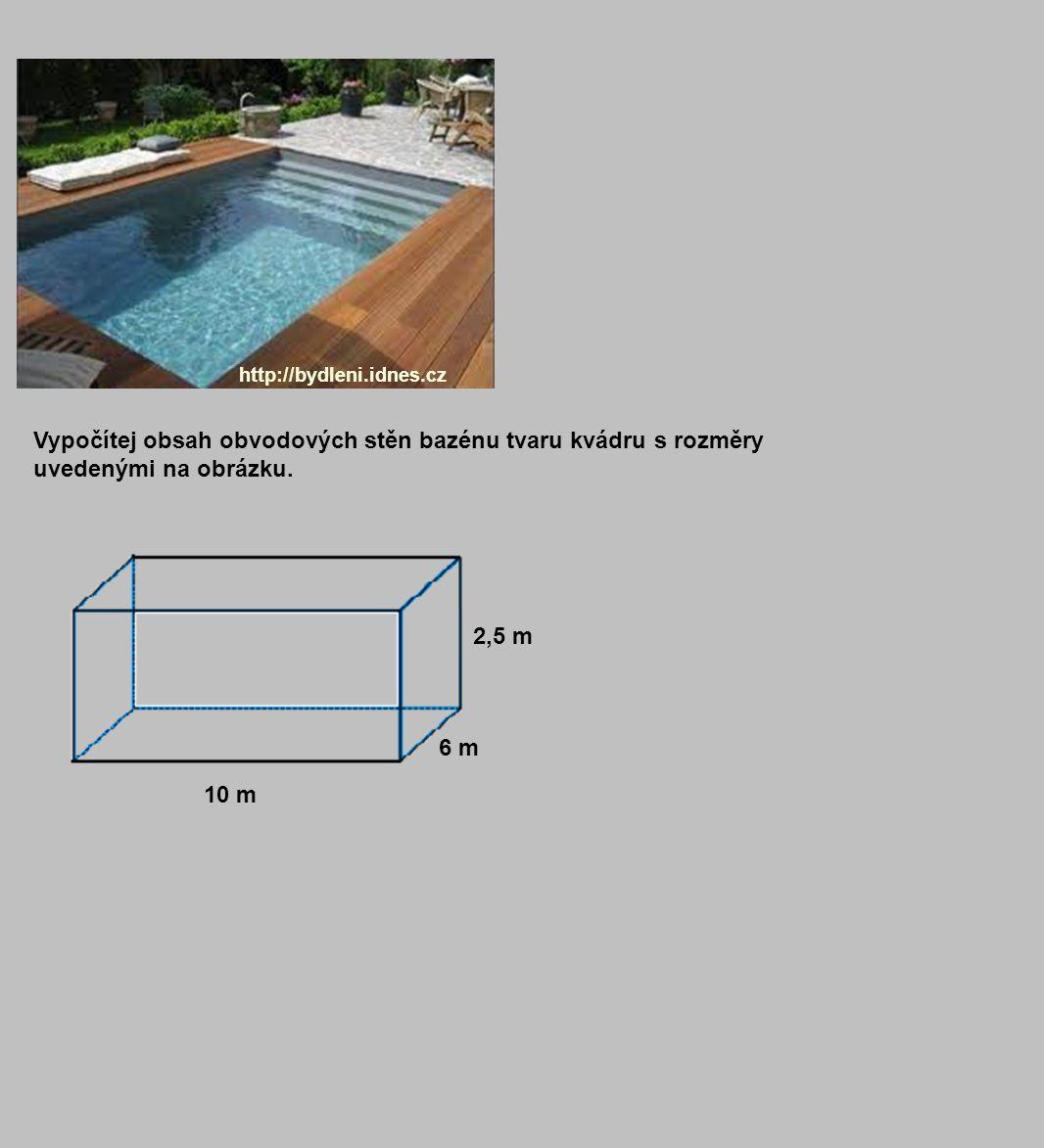 http://bydleni.idnes.cz Vypočítej obsah obvodových stěn bazénu tvaru kvádru s rozměry uvedenými na obrázku.