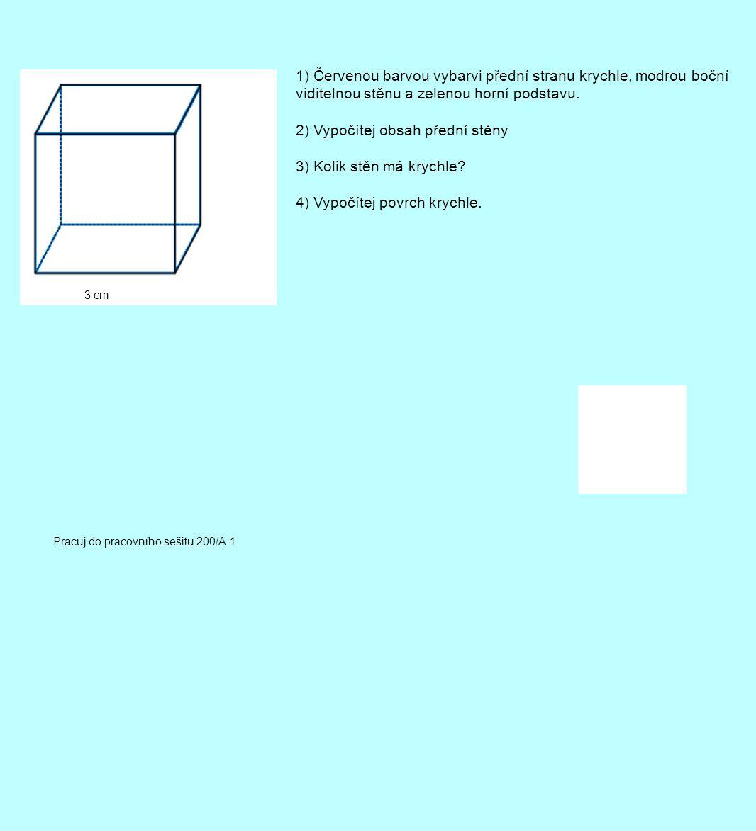 2) Vypočítej obsah přední stěny 3) Kolik stěn má krychle