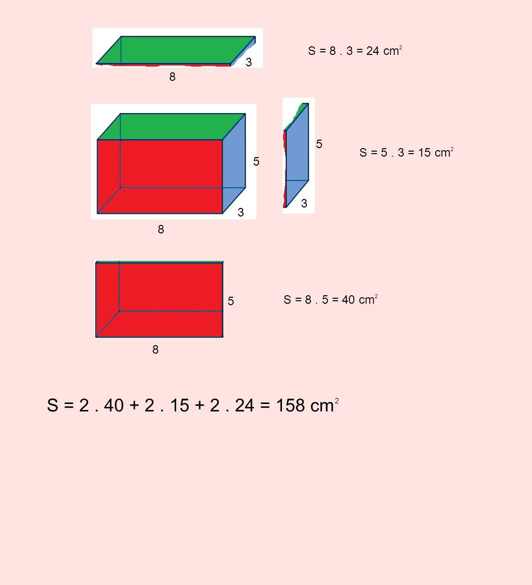 S = 8 . 3 = 24 cm2 8. 3. S = 5 . 3 = 15 cm2.