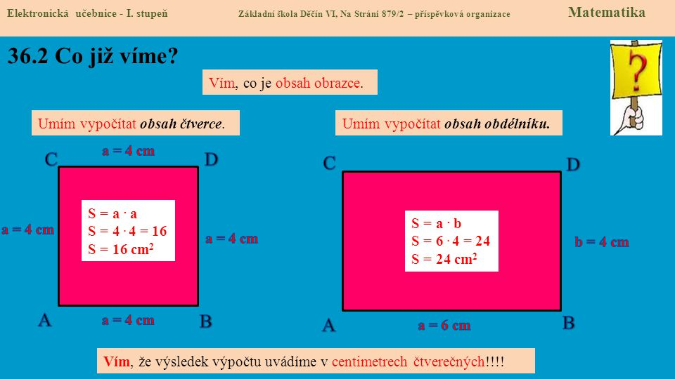 36.2 Co již víme C D C D A B A B Vím, co je obsah obrazce.