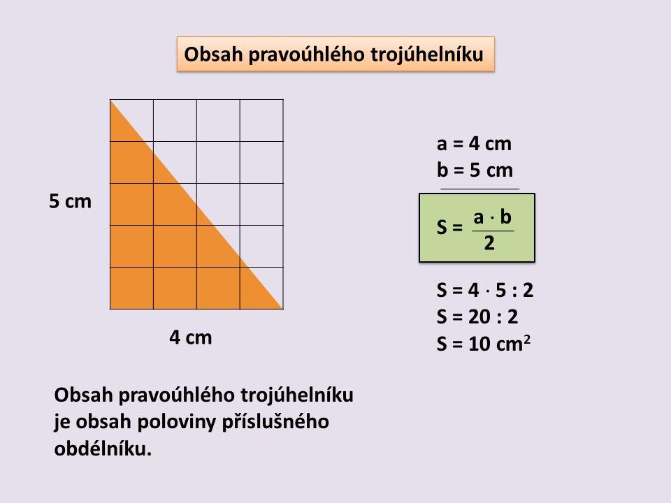 Obsah pravoúhlého trojúhelníku