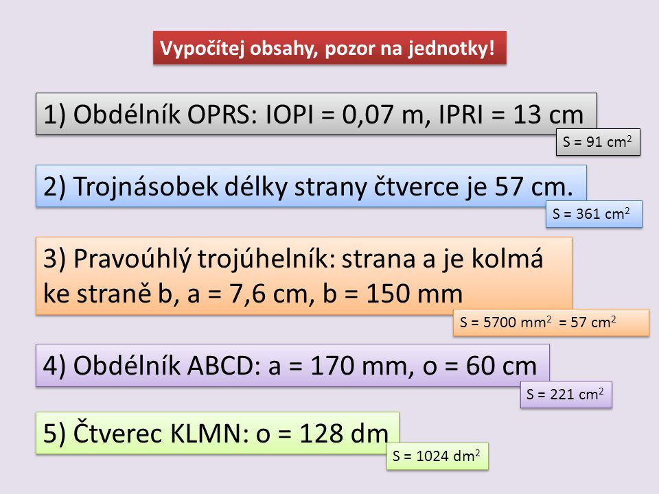 1) Obdélník OPRS: IOPI = 0,07 m, IPRI = 13 cm