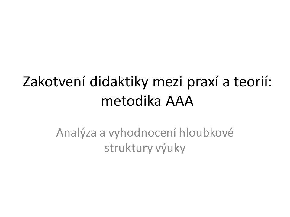 Zakotvení didaktiky mezi praxí a teorií: metodika AAA