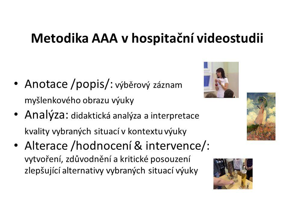 Metodika AAA v hospitační videostudii