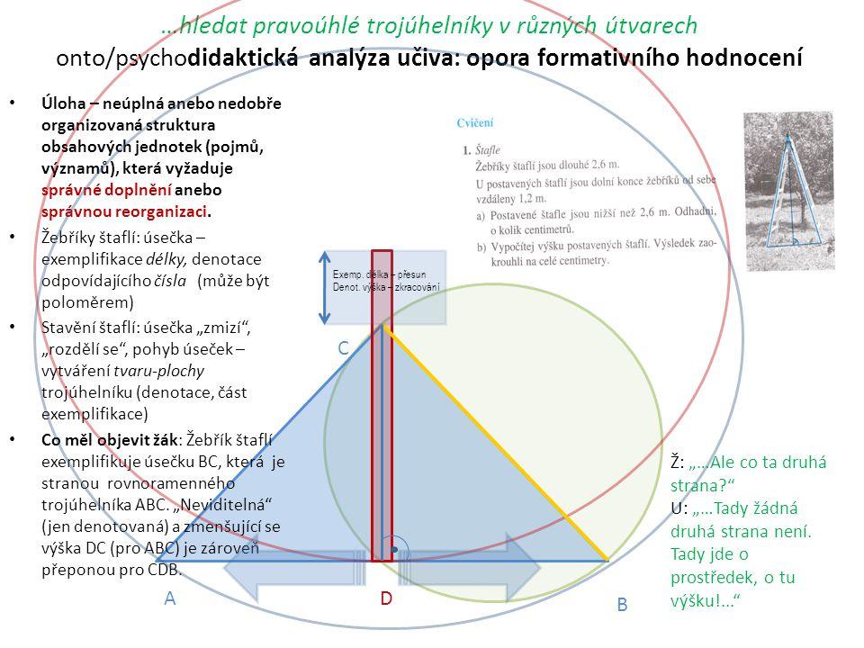 …hledat pravoúhlé trojúhelníky v různých útvarech onto/psychodidaktická analýza učiva: opora formativního hodnocení