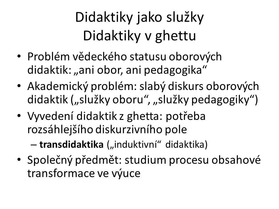 Didaktiky jako služky Didaktiky v ghettu