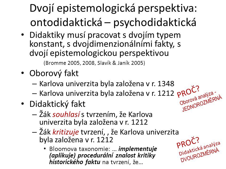 Dvojí epistemologická perspektiva: ontodidaktická – psychodidaktická