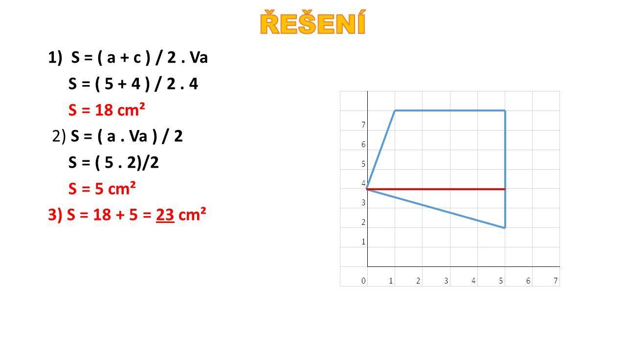 ŘEŠENÍ 1) S = ( a + c ) / 2 . Va S = ( 5 + 4 ) / 2 .
