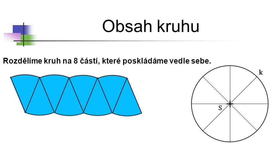 Obsah kruhu Rozdělíme kruh na 8 částí, které poskládáme vedle sebe. k