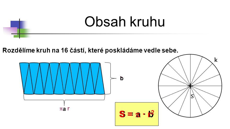Obsah kruhu S = p ∙ r2 S = a ∙ b