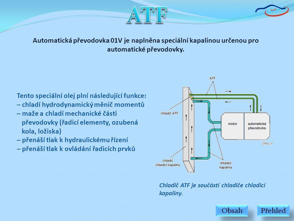 ATF Automatická převodovka 01V je naplněna speciální kapalinou určenou pro automatické převodovky. Tento speciální olej plní následující funkce: