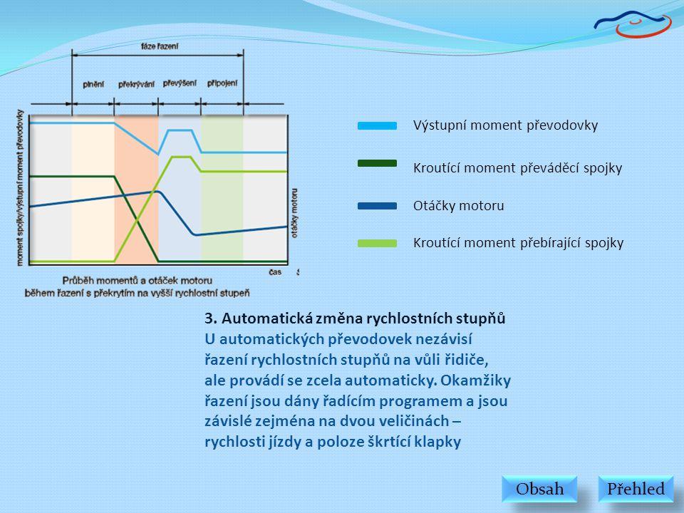 3. Automatická změna rychlostních stupňů