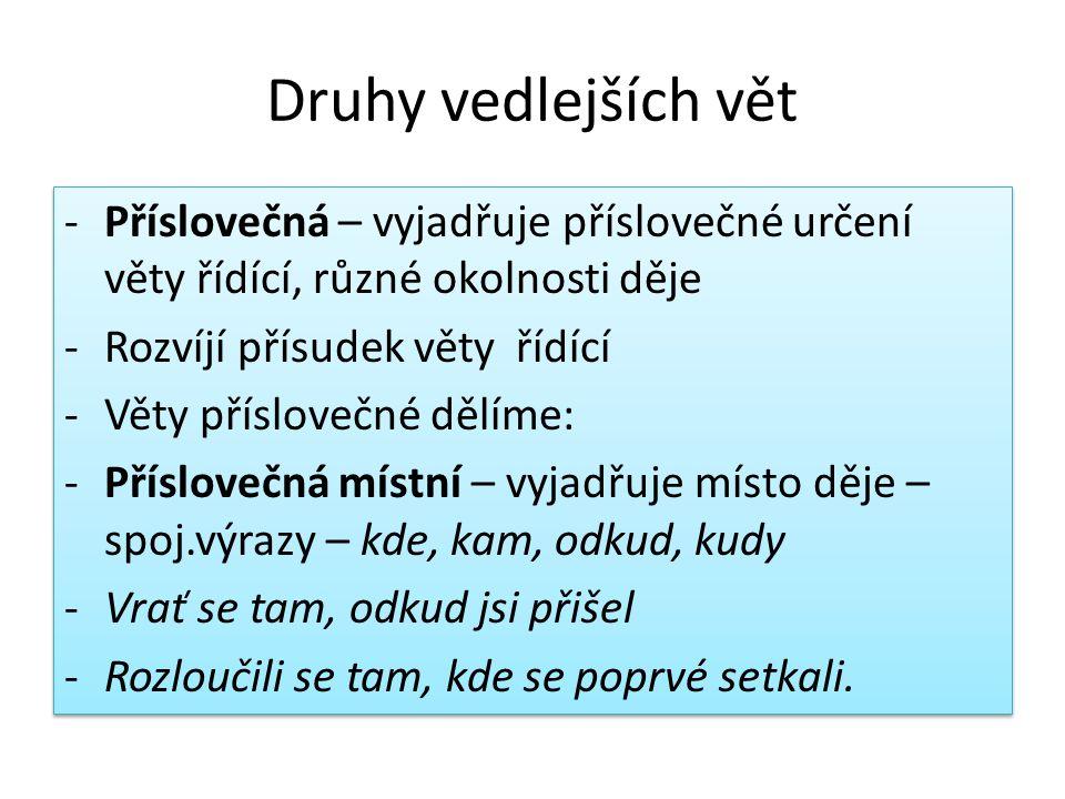 Druhy vedlejších vět Příslovečná – vyjadřuje příslovečné určení věty řídící, různé okolnosti děje. Rozvíjí přísudek věty řídící.