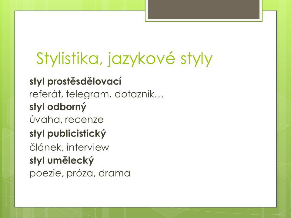 Stylistika, jazykové styly