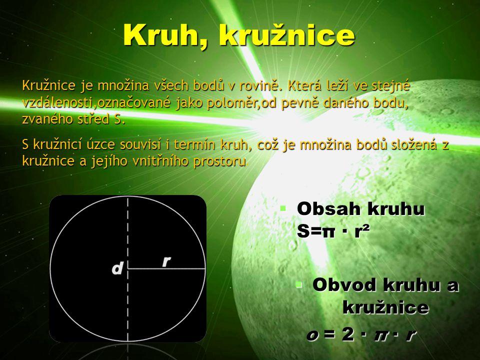 Kruh, kružnice Obsah kruhu S=π · r² Obvod kruhu a kružnice