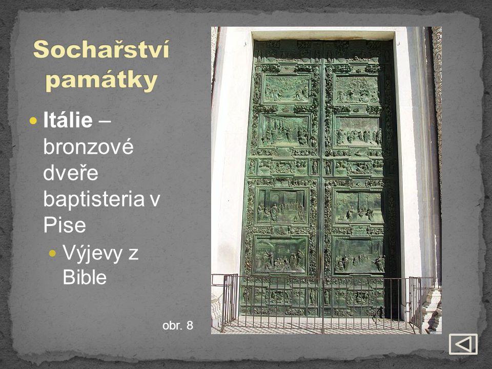 Sochařství památky Itálie – bronzové dveře baptisteria v Pise