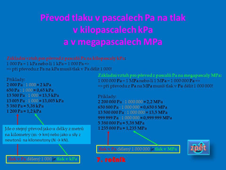 Převod tlaku v pascalech Pa na tlak v kilopascalech kPa a v megapascalech MPa