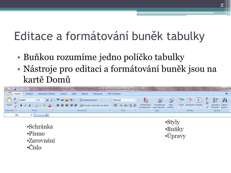 Editace a formátování buněk tabulky
