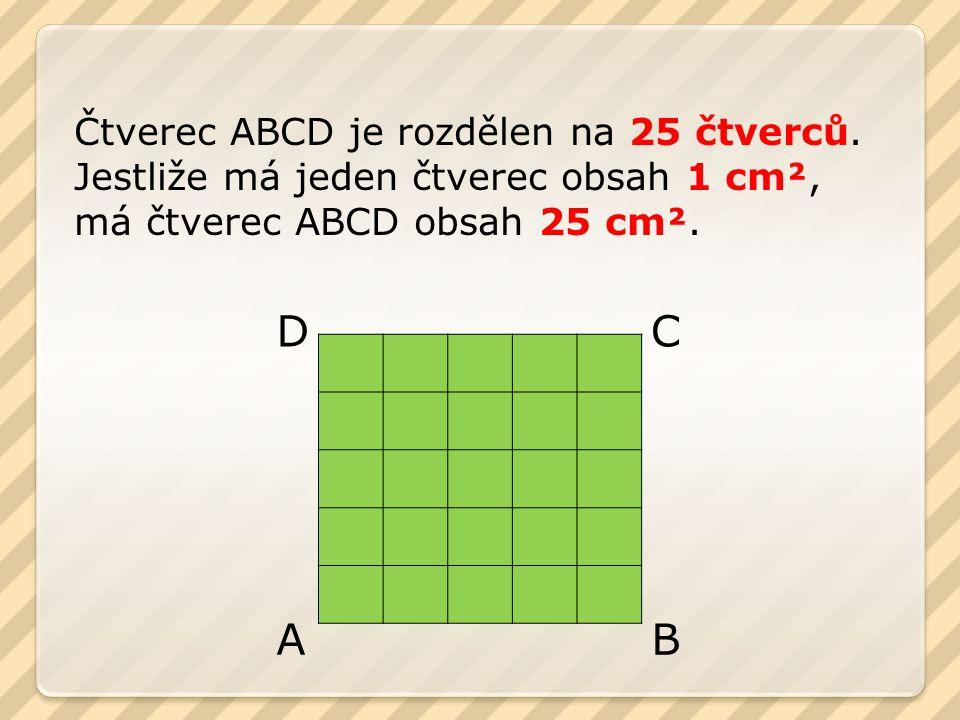 Čtverec ABCD je rozdělen na 25 čtverců