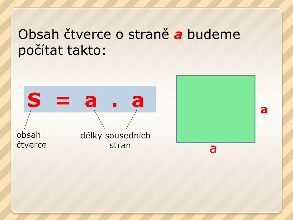 S = a . a Obsah čtverce o straně a budeme počítat takto: a a obsah
