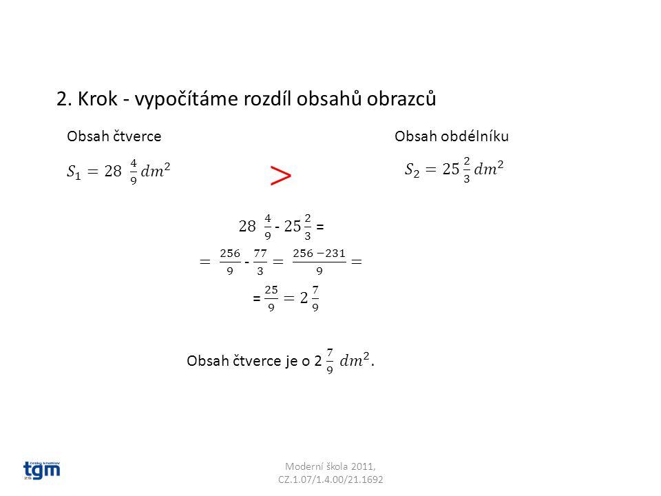 > 2. Krok - vypočítáme rozdíl obsahů obrazců Obsah čtverce