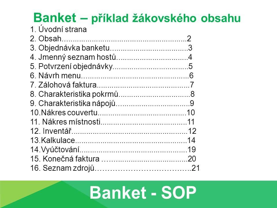 Banket – příklad žákovského obsahu