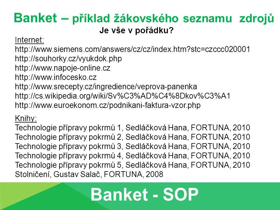 Banket – příklad žákovského seznamu zdrojů