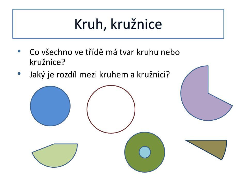 Kruh, kružnice Co všechno ve třídě má tvar kruhu nebo kružnice
