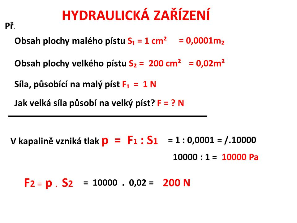 HYDRAULICKÁ ZAŘÍZENÍ F2 = p . S2 200 N Př.