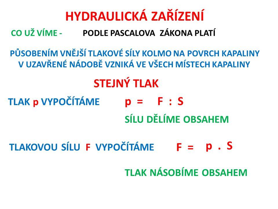HYDRAULICKÁ ZAŘÍZENÍ STEJNÝ TLAK p = F : S p . S F = TLAK p VYPOČÍTÁME