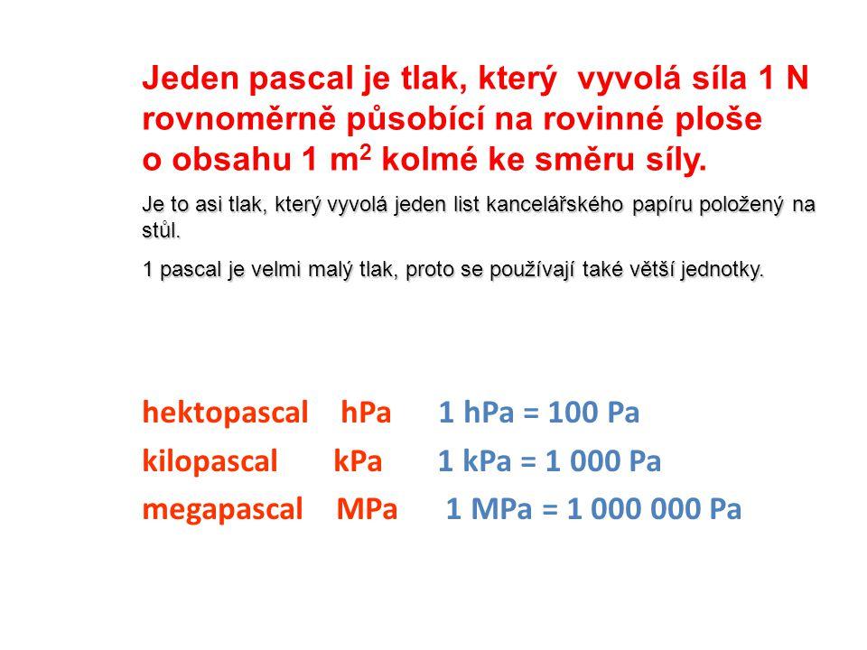 hektopascal hPa 1 hPa = 100 Pa kilopascal kPa 1 kPa = 1 000 Pa