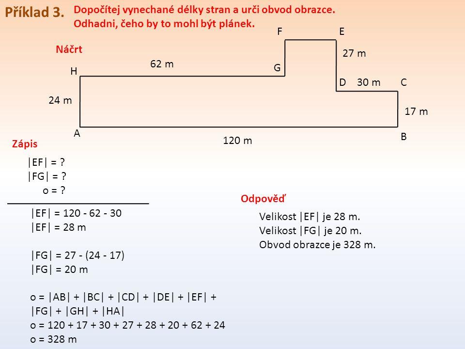 Příklad 3. Dopočítej vynechané délky stran a urči obvod obrazce.