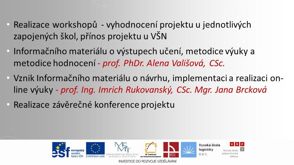 Realizace workshopů - vyhodnocení projektu u jednotlivých zapojených škol, přínos projektu u VŠN