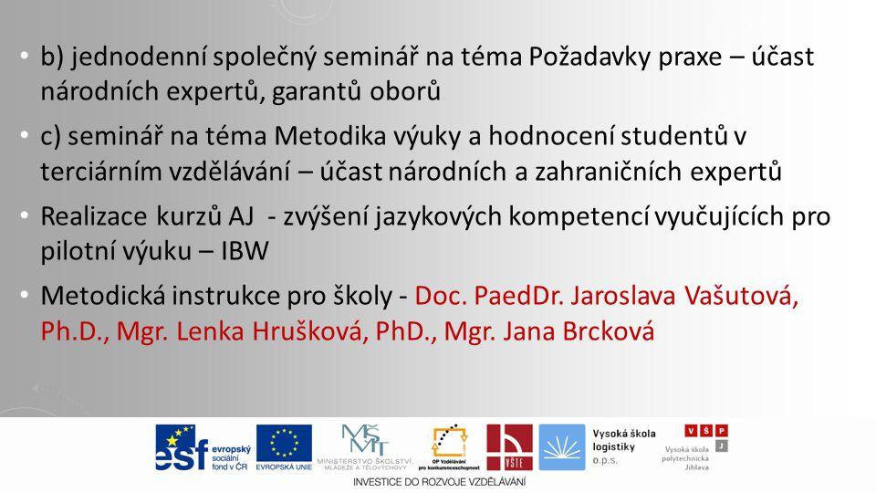 b) jednodenní společný seminář na téma Požadavky praxe – účast národních expertů, garantů oborů