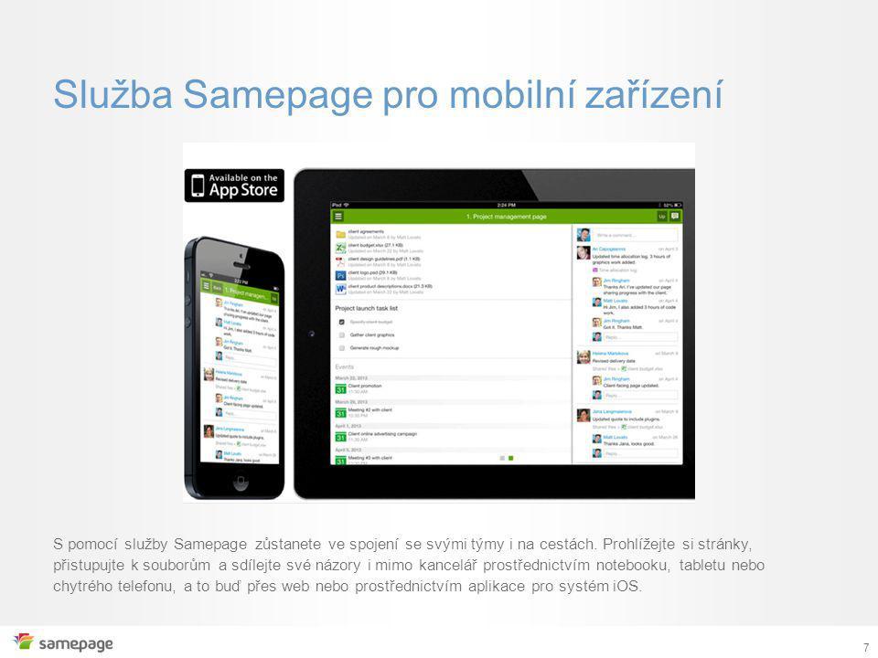 Služba Samepage pro mobilní zařízení