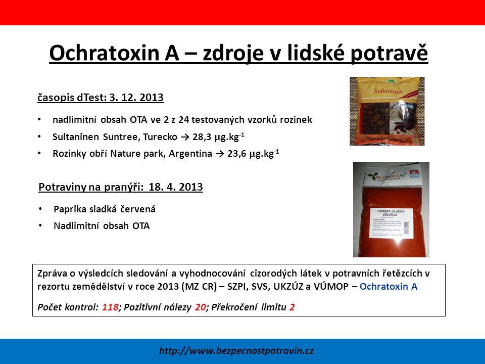 Ochratoxin A – zdroje v lidské potravě