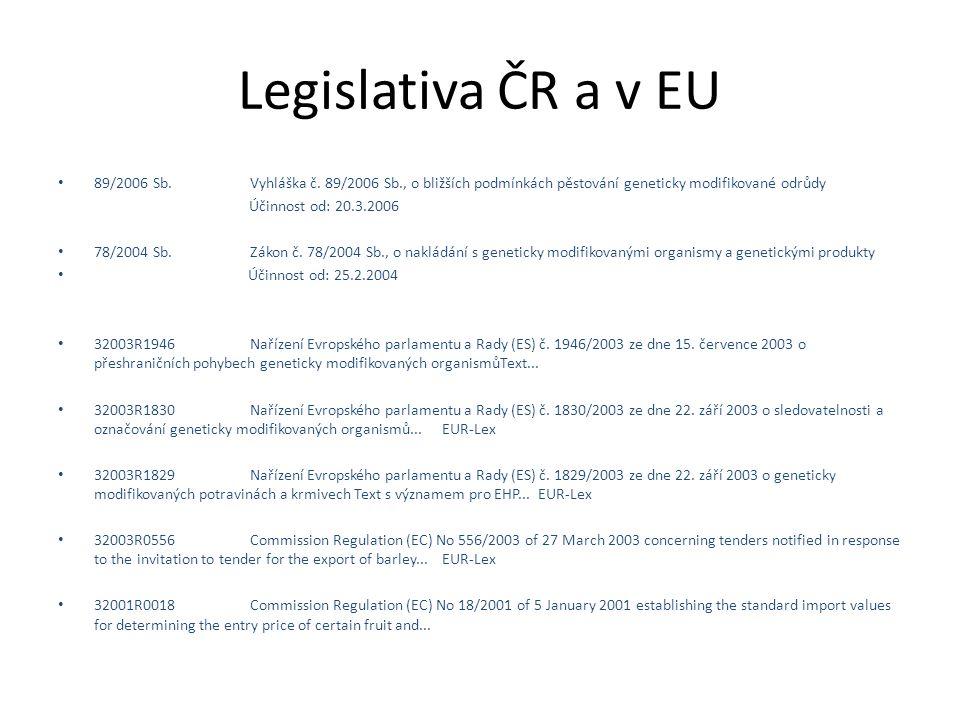 Legislativa ČR a v EU 89/2006 Sb. Vyhláška č. 89/2006 Sb., o bližších podmínkách pěstování geneticky modifikované odrůdy.