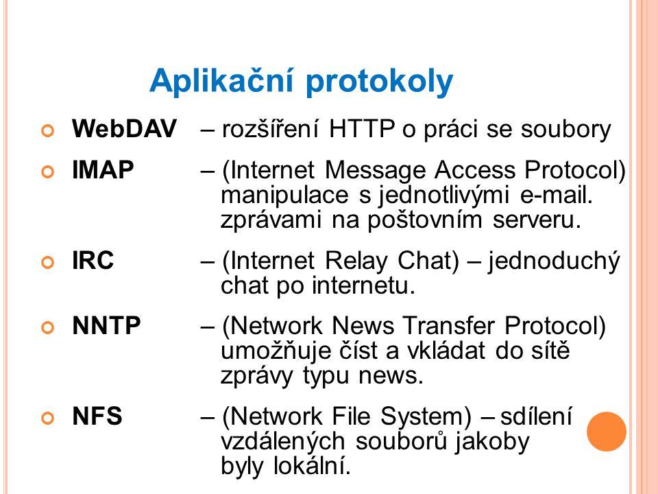 Aplikační protokoly WebDAV – rozšíření HTTP o práci se soubory