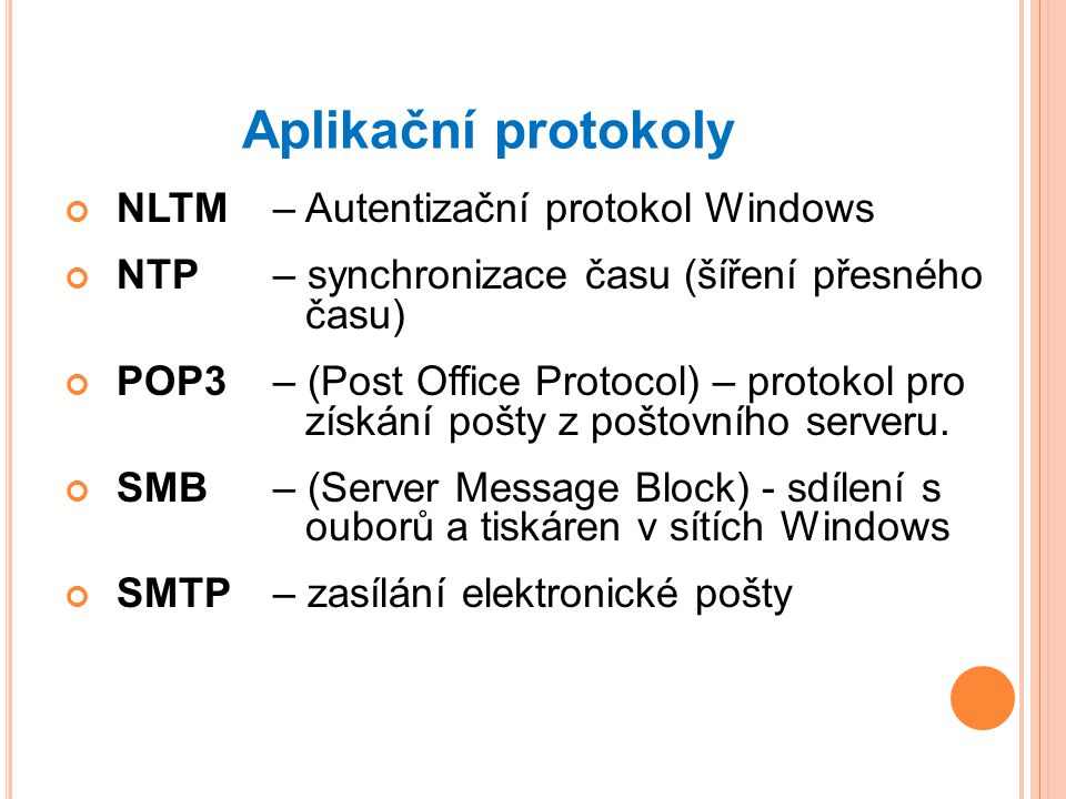 Aplikační protokoly NLTM – Autentizační protokol Windows
