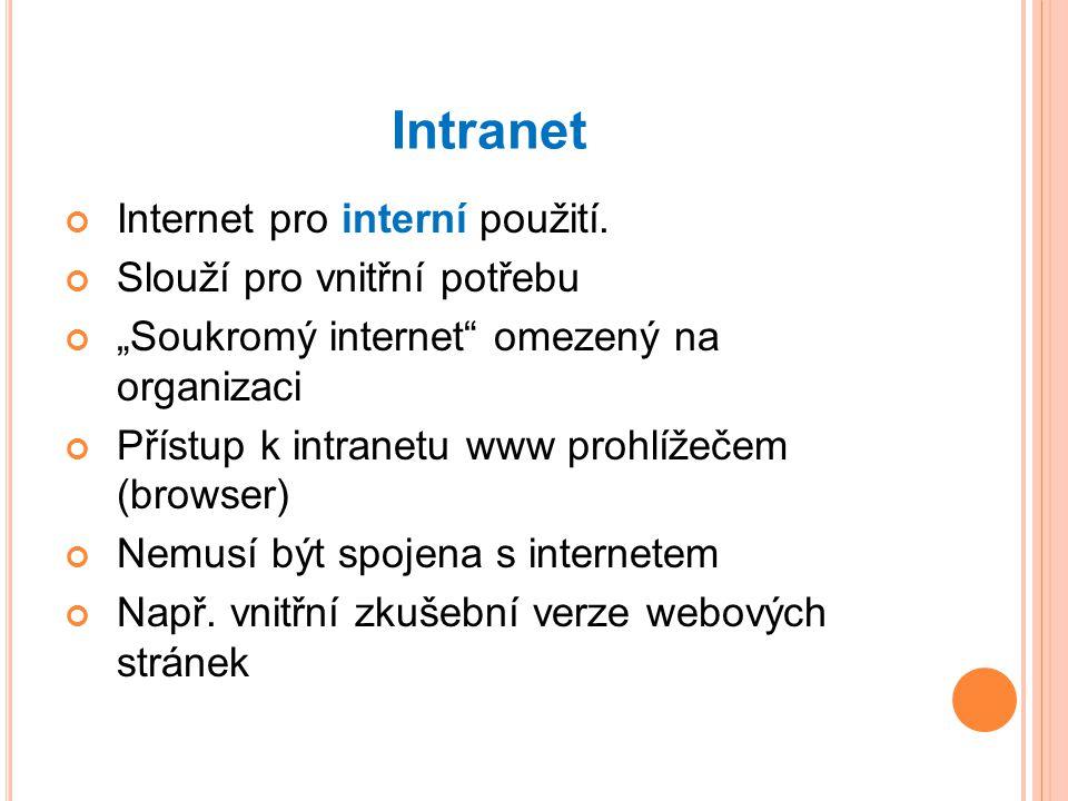 Intranet Internet pro interní použití. Slouží pro vnitřní potřebu