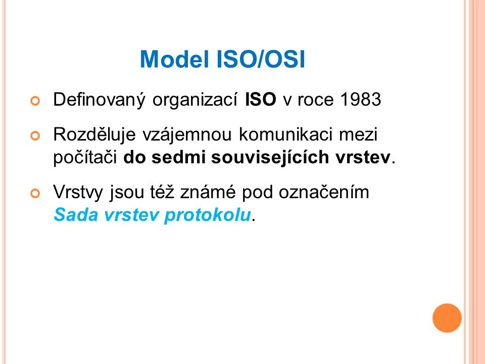 Model ISO/OSI Definovaný organizací ISO v roce 1983
