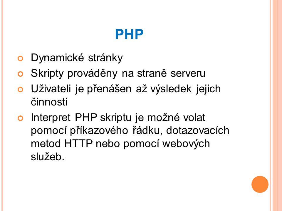 PHP Dynamické stránky Skripty prováděny na straně serveru