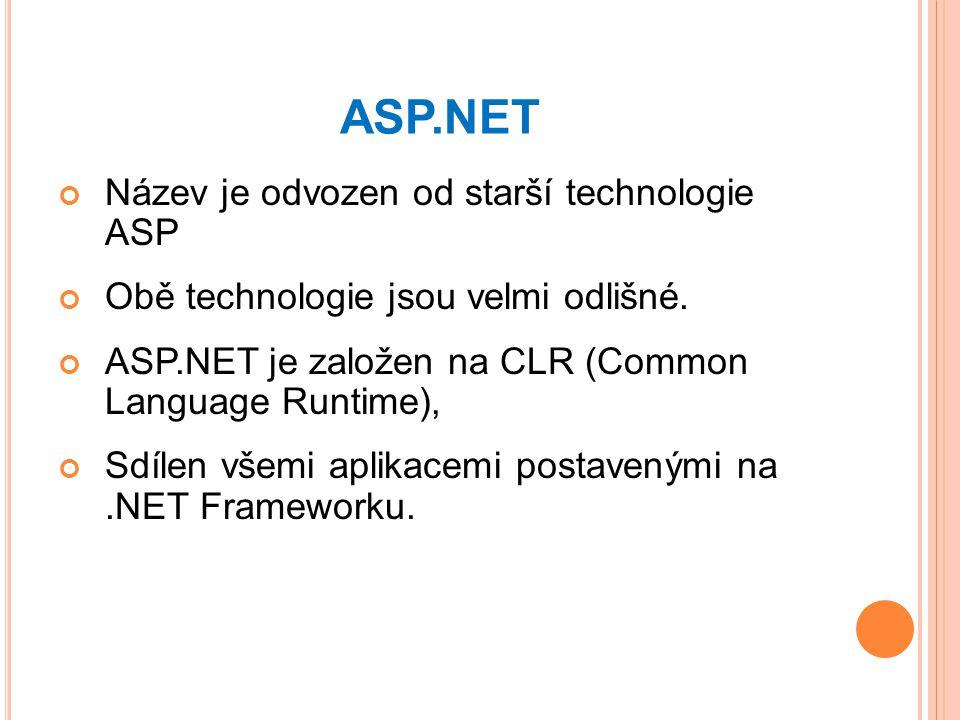 ASP.NET Název je odvozen od starší technologie ASP