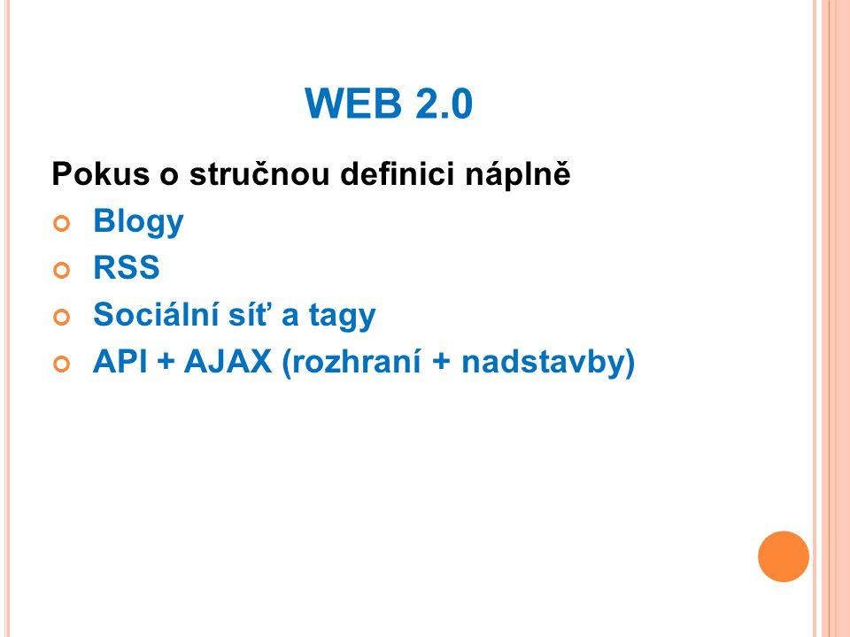 WEB 2.0 Pokus o stručnou definici náplně Blogy RSS Sociální síť a tagy