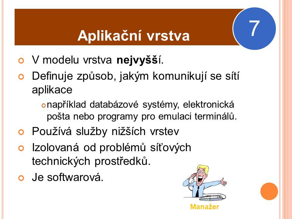 7 Aplikační vrstva V modelu vrstva nejvyšší.